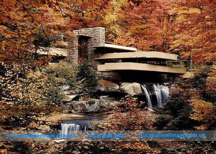 Thiết kế thi công tường thác nước đẹp tại Long An - Tường thác nước bằng gỗ