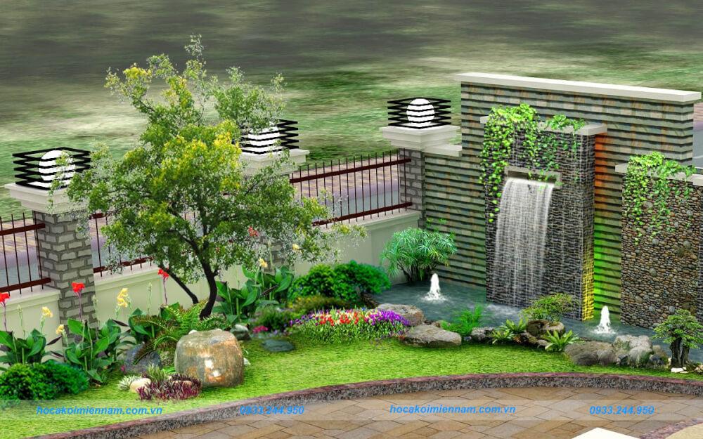 Thi công tiểu ảnh sân vườn kết hợp thác nước