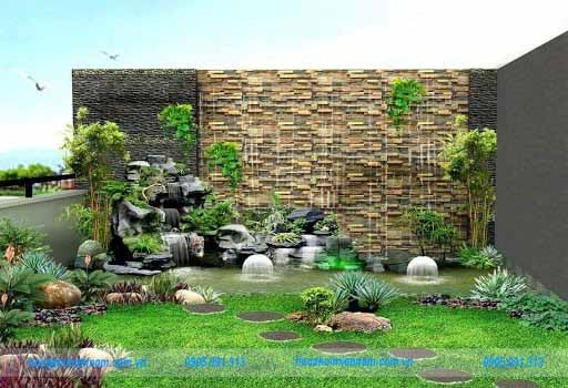 Tiểu cảnh sân vườn thác nước
