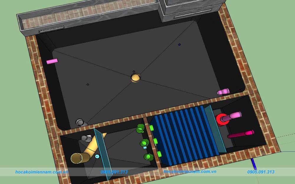 Bản vẽ 3D hồ cá koi