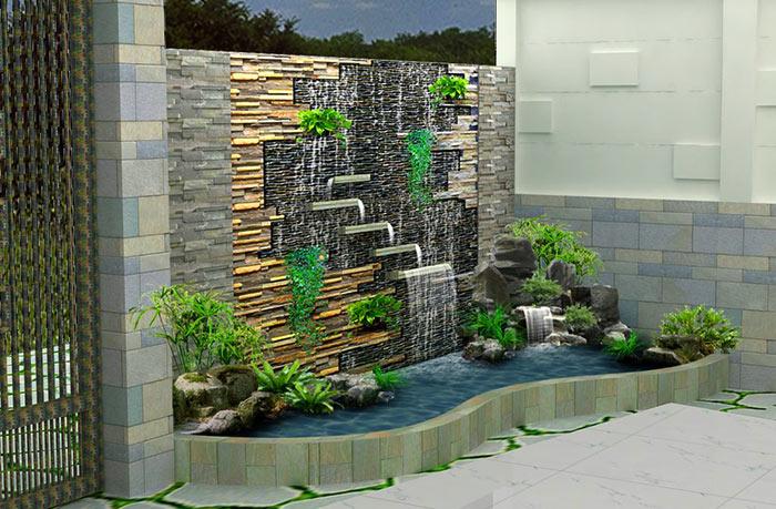 Tiểu cảnh thác nước trên tường 1