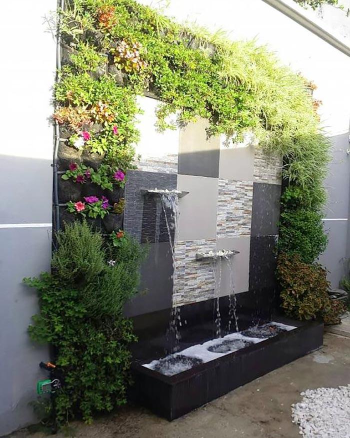 Tiểu cảnh thác nước trên tường 15