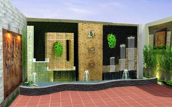 Tiểu cảnh thác nước trên tường 4