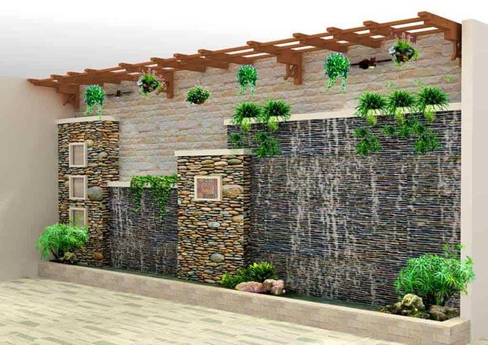 Tiểu cảnh thác nước trên tường 5